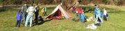 rozłożony namiot